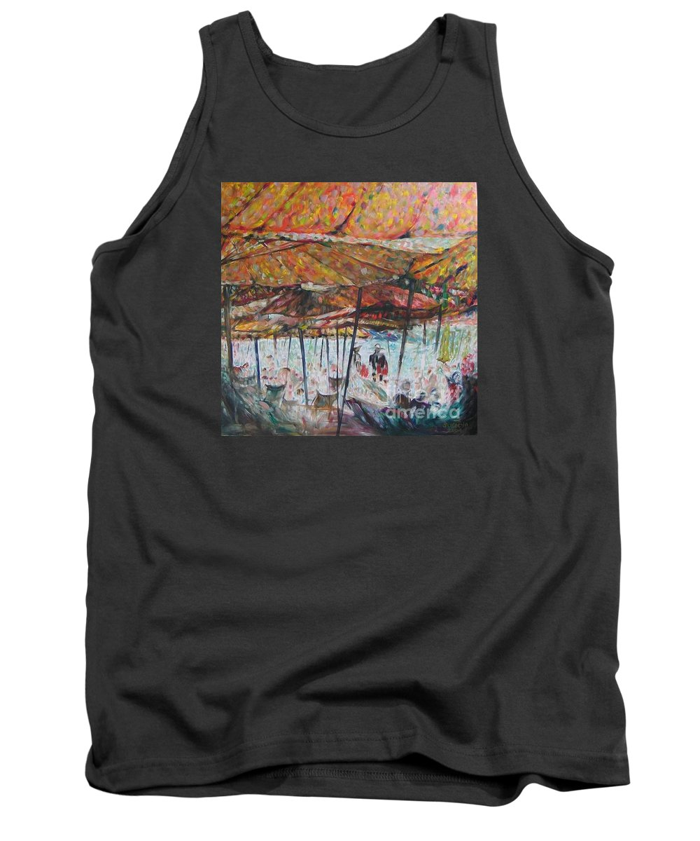 On The Beach Tank Top featuring the painting On The Beach 1 by Sukalya Chearanantana