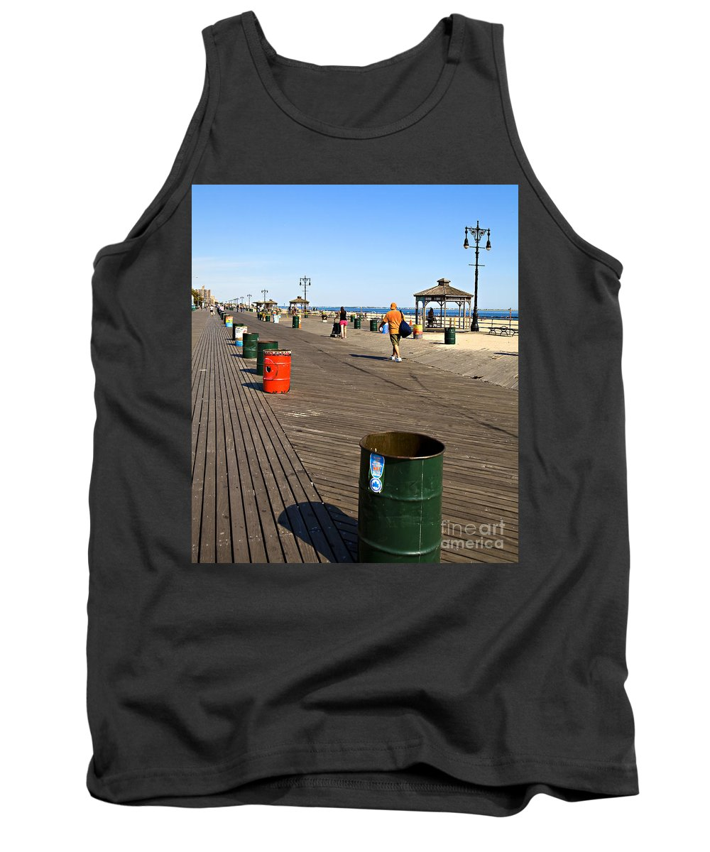 Boardwalk Tank Top featuring the photograph On The Coney Island Boardwalk by Madeline Ellis