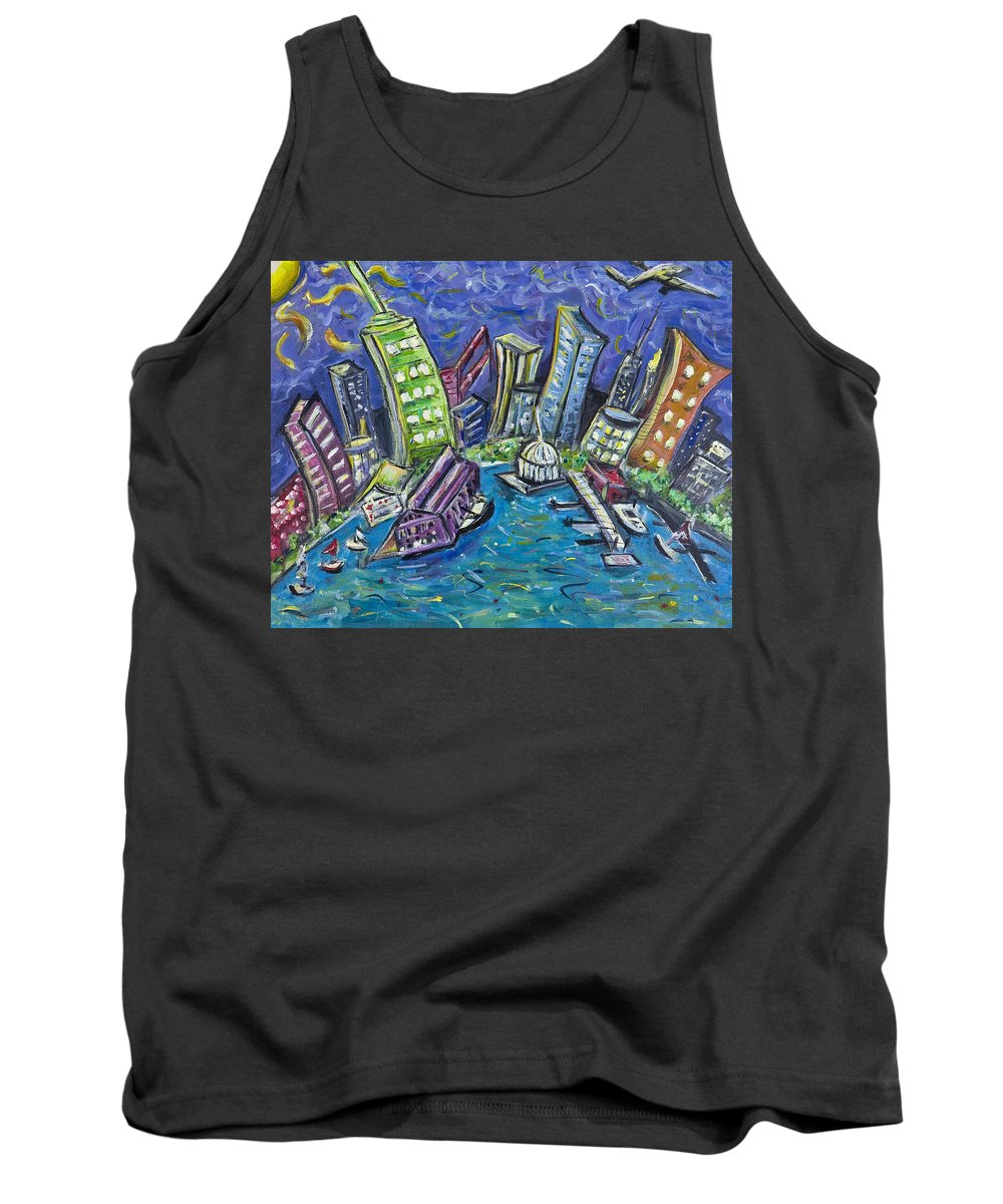 New York City Tank Top featuring the painting On The Hudson by Jason Gluskin