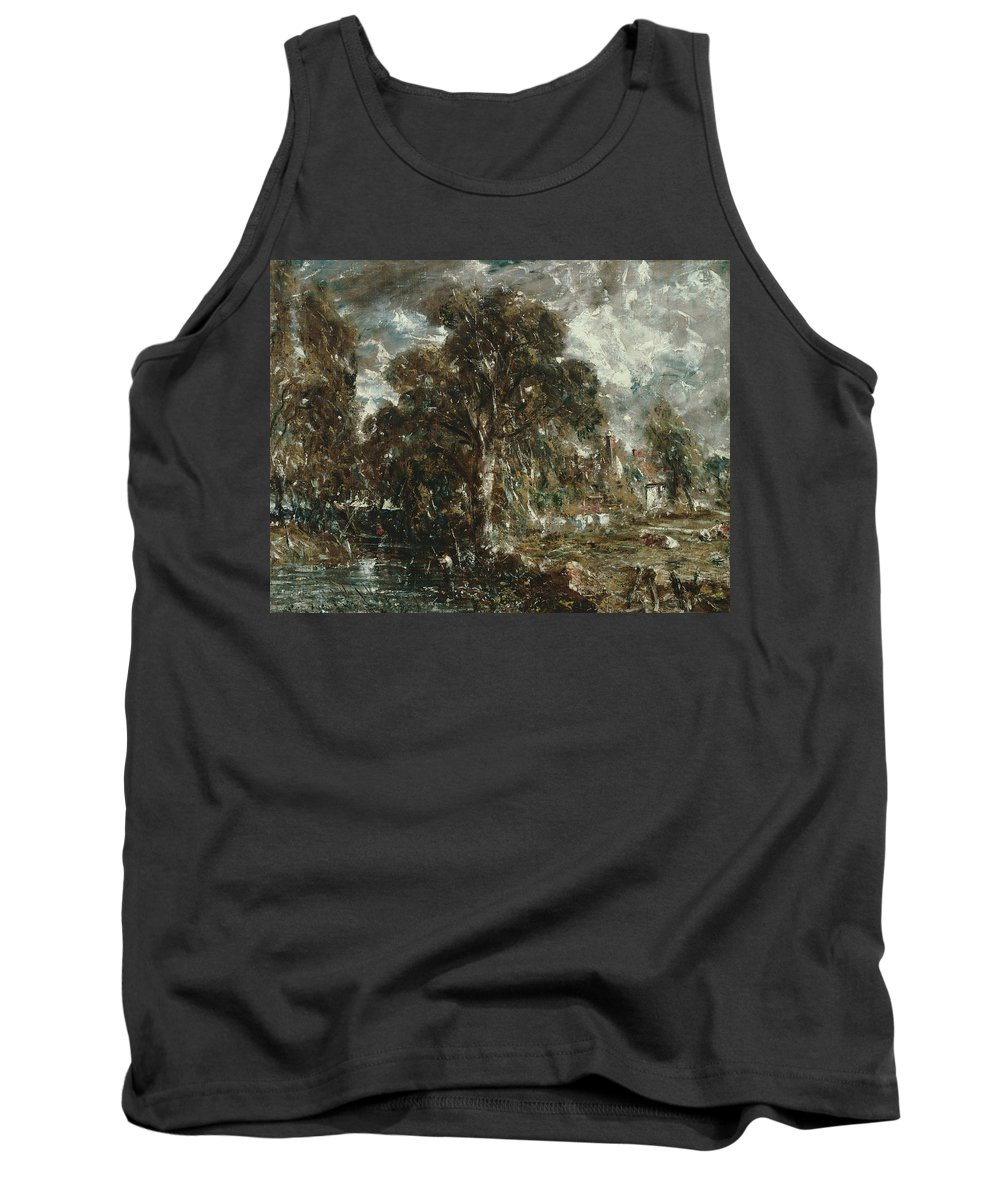 English Romantic Painters Tank Top featuring the painting On The River Stour by John Constable