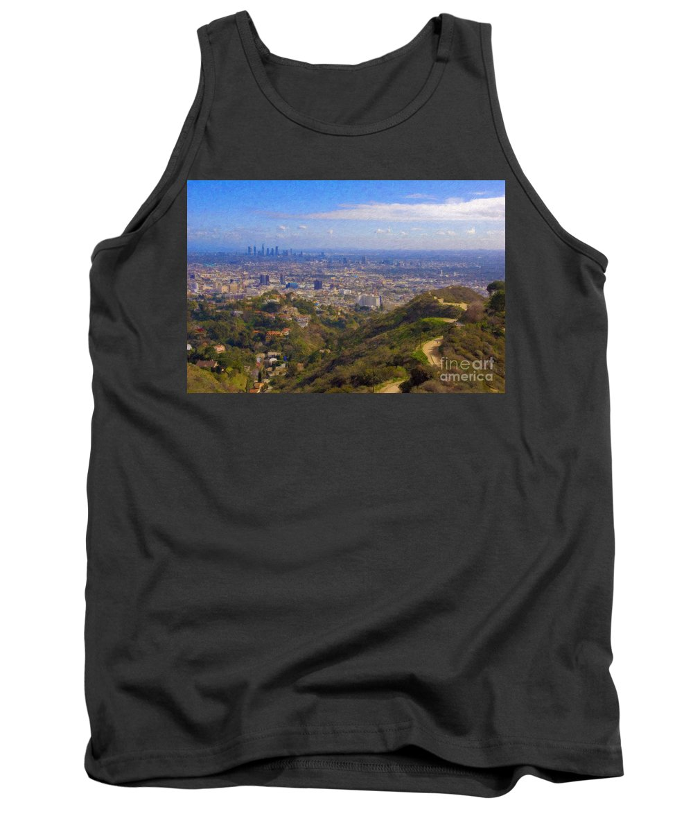 Los Angeles Tank Top featuring the photograph On The Road To Oz La Skyline Runyon Canyon Hiking Trail by David Zanzinger