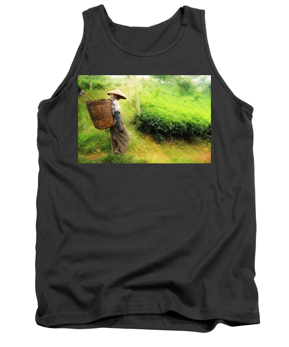 Agriculture Tank Top featuring the photograph One Day In Tea Plantation by Charuhas Images