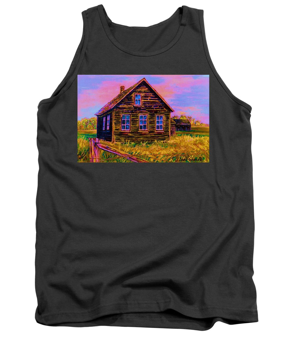 Western Art Tank Top featuring the painting One Room Schoolhouse by Carole Spandau