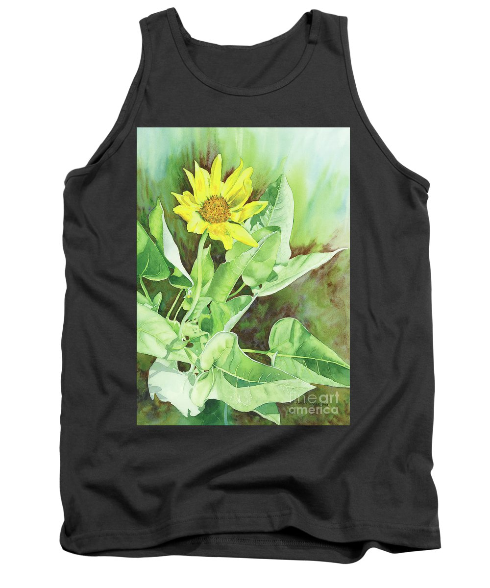 Balsam Root Tank Top featuring the painting One Rooting In The Sun by Nicki Isaacson