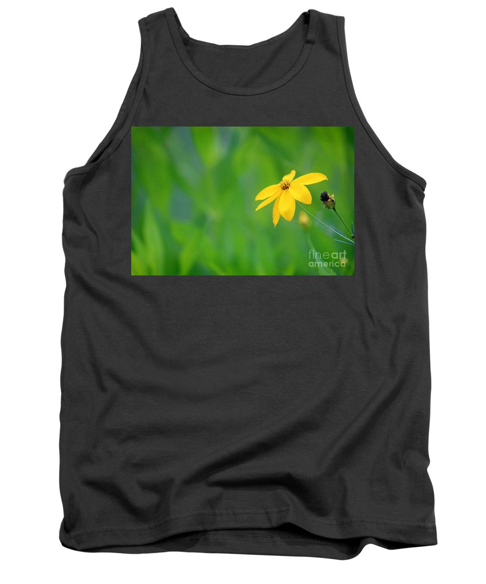 Adams Tank Top featuring the photograph One Yellow Coreopsis Flower by Karen Adams