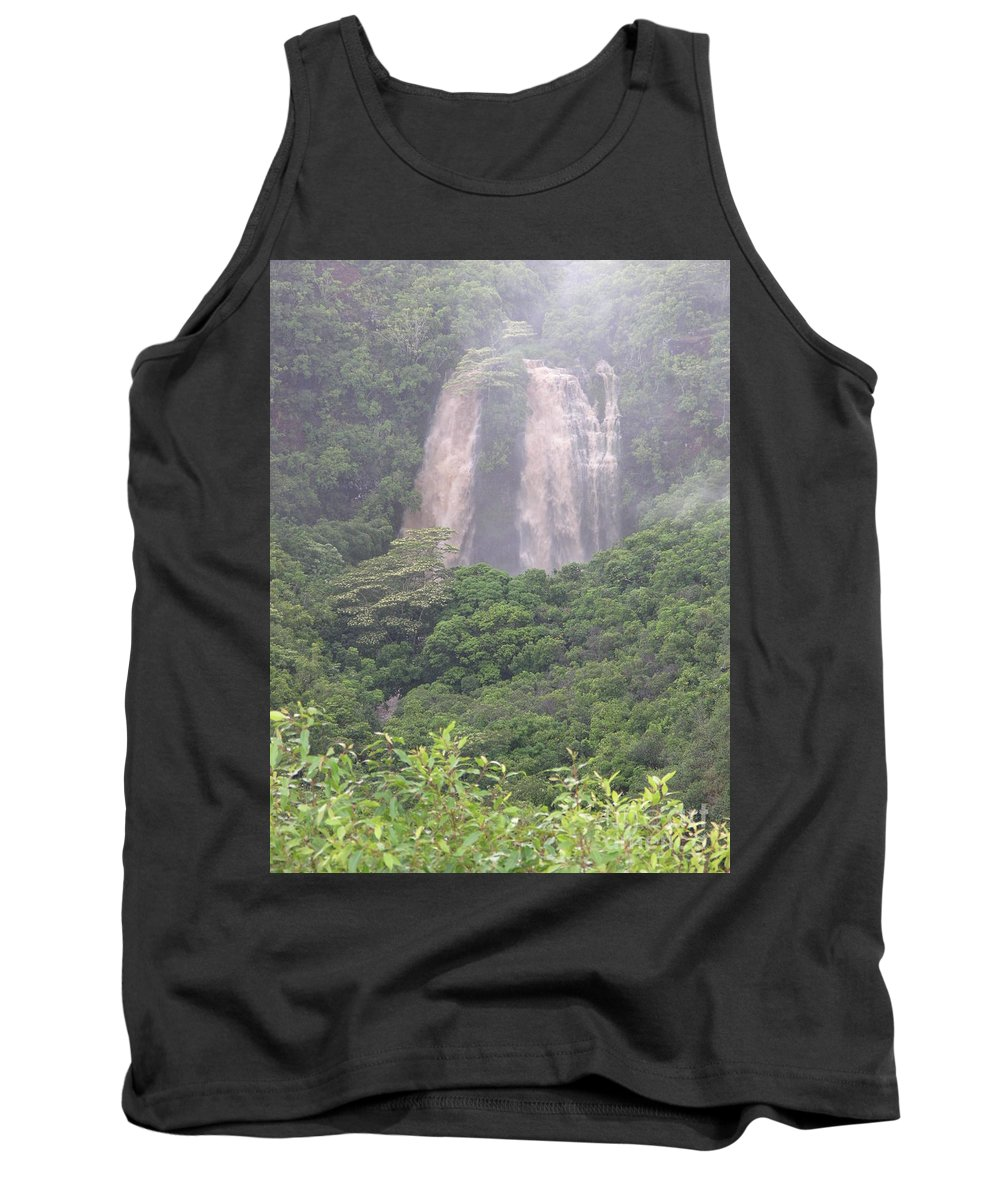 Mary Deal Tank Top featuring the photograph Opaekaa Falls On Kauai During A Storm by Mary Deal
