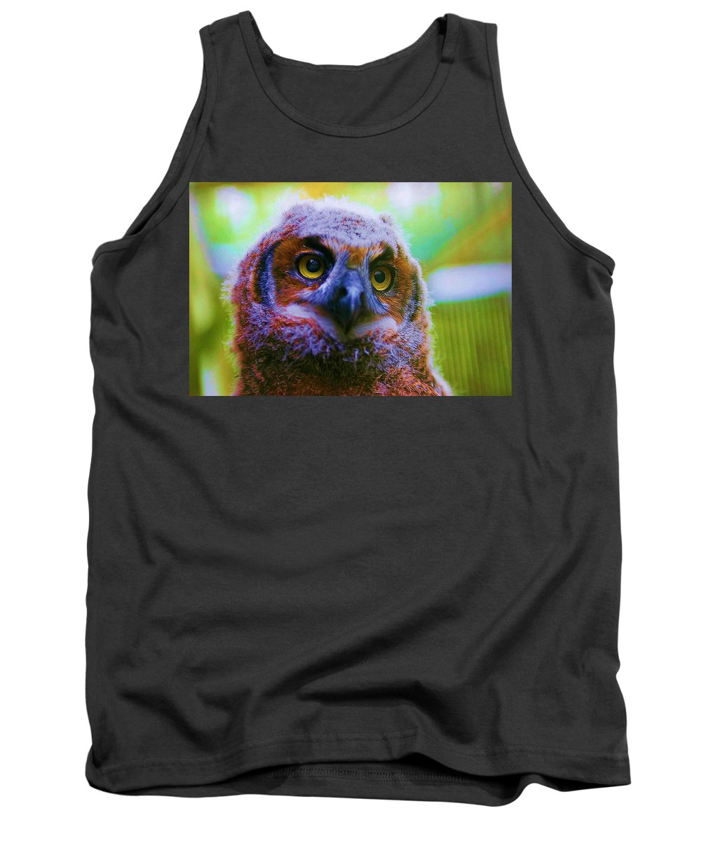 Owl Tank Top featuring the photograph Opalescent Owl by Nelson Strong