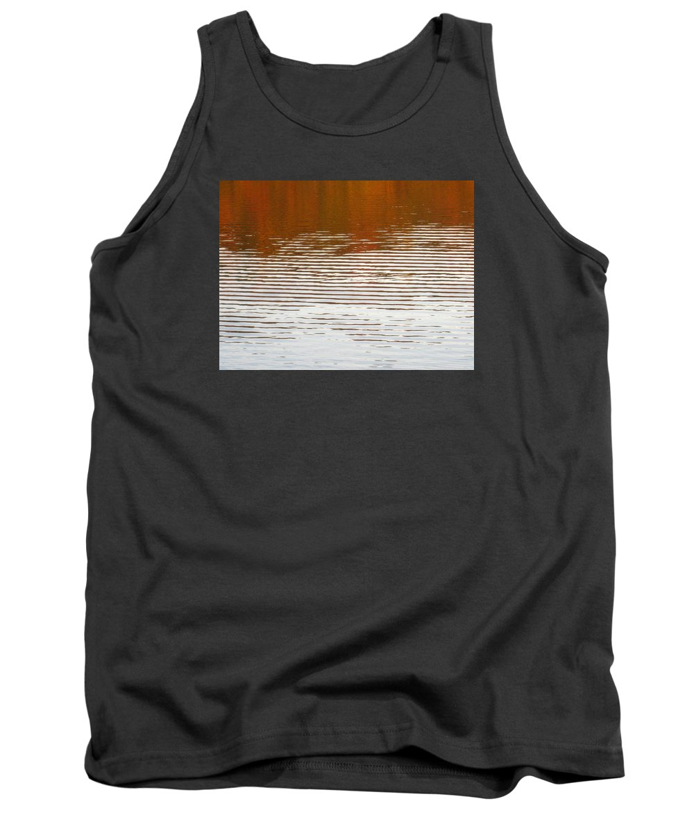 Water Tank Top featuring the photograph Reflections Of Fall Leaves And Sunlit Ripples On Jamaica Pond by Giora Hadar