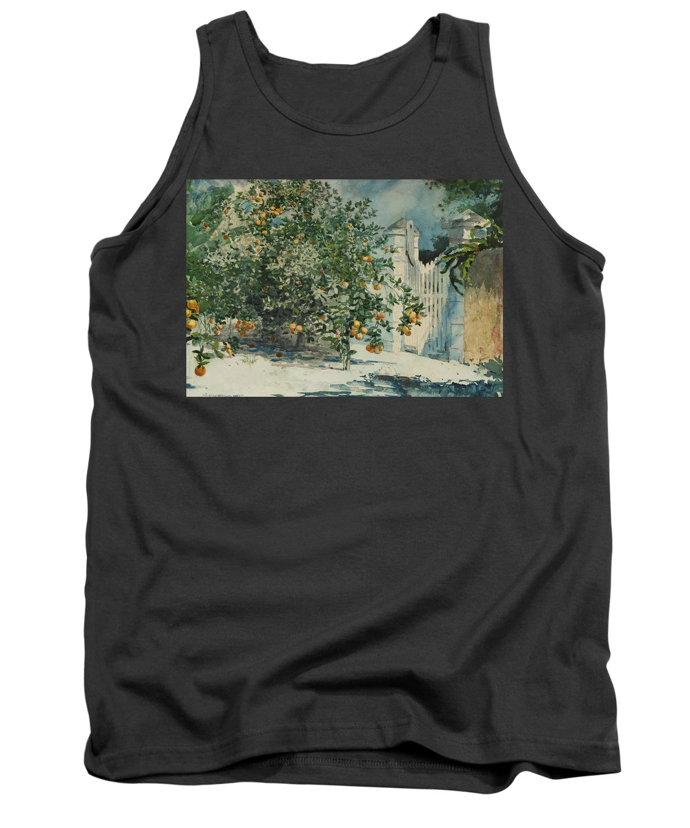 19th Century American Painters Tank Top featuring the painting Orange Trees And Gate by Winslow Homer