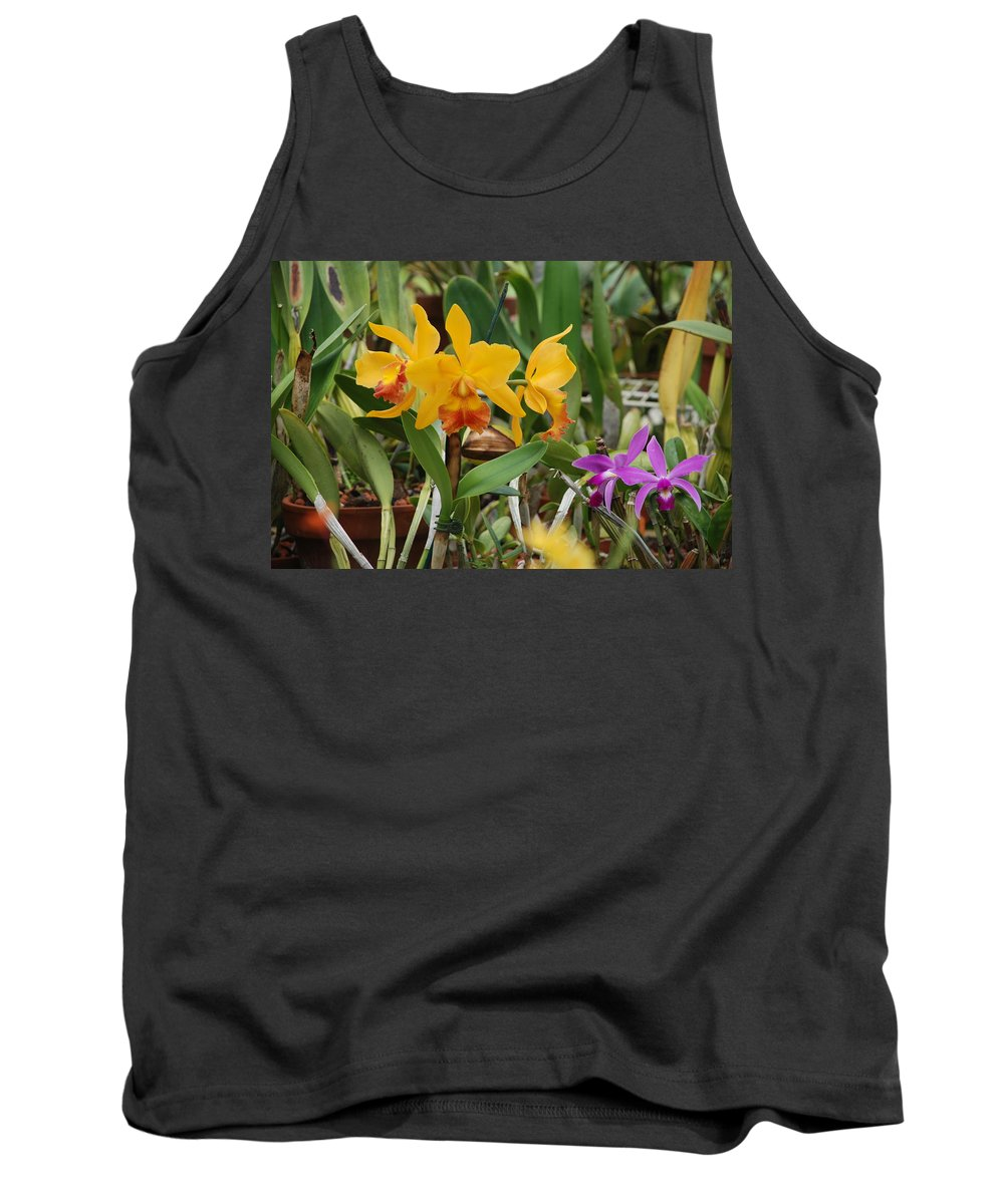 Orange Tank Top featuring the photograph Orangepurple Orchids by Rob Hans