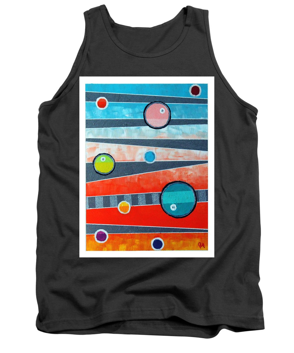 Acrylic Tank Top featuring the painting Orbs On Planes #2 by Jeremy Aiyadurai