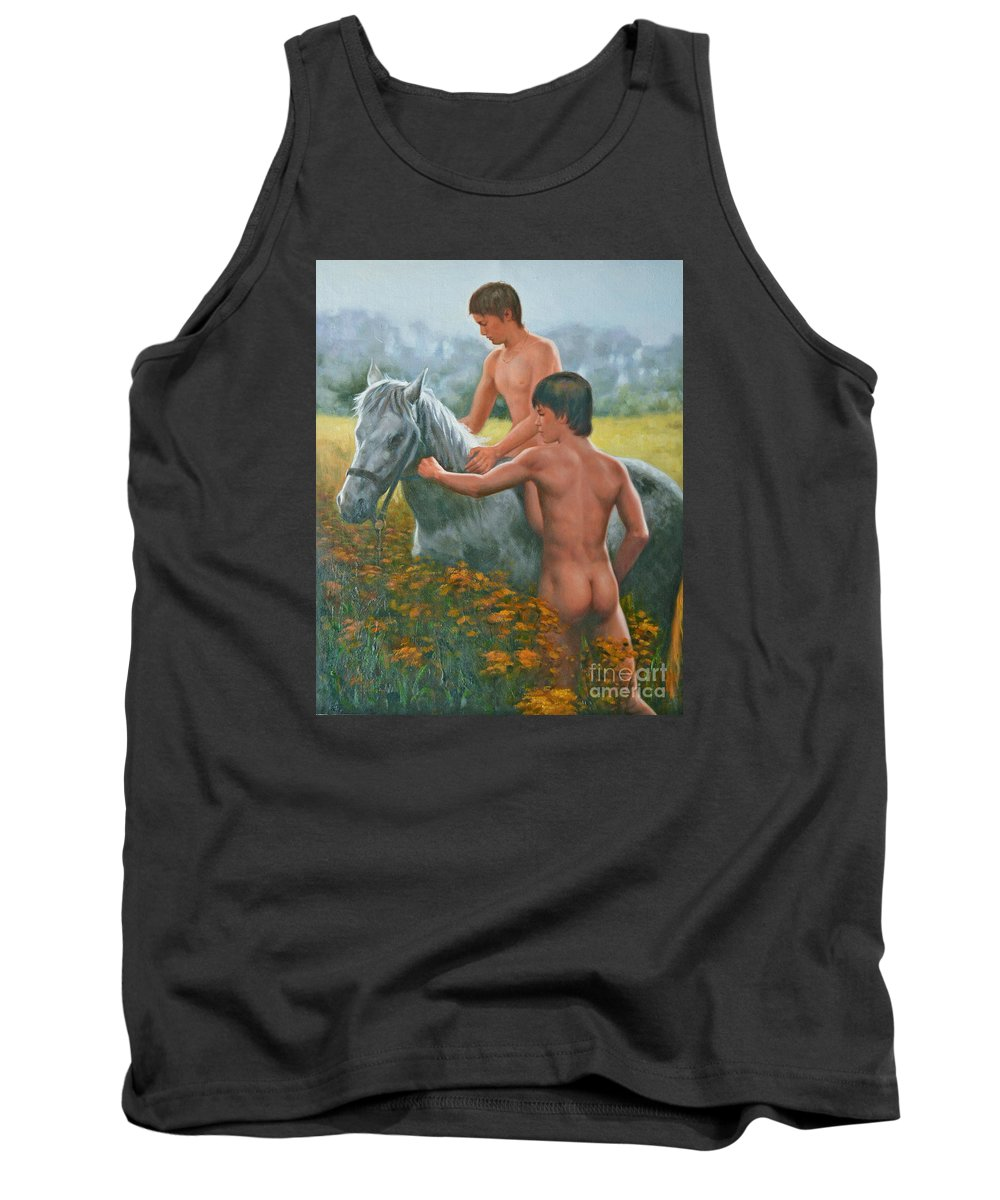 Art Tank Top featuring the painting Original Oil Painting Gay Interest Male Nude Boy And Horse On Linen-0026 by Hongtao Huang