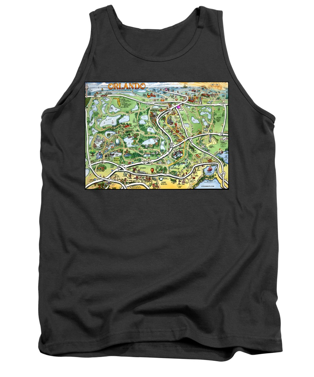 Orlando Tank Top featuring the digital art Orlando Florida Cartoon Map by Kevin Middleton