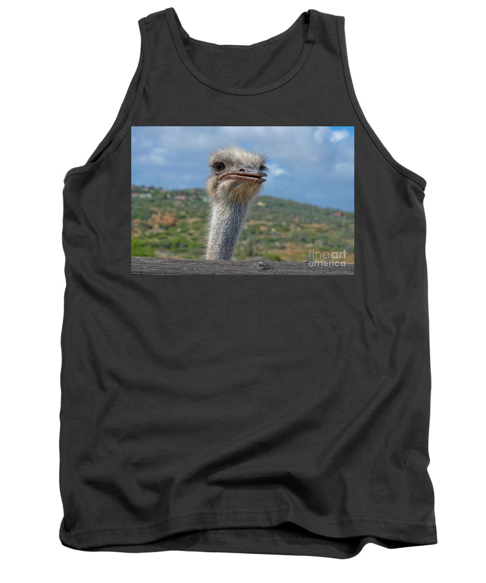 Ostrich Tank Top featuring the photograph Ostrich Head by Thomas Marchessault