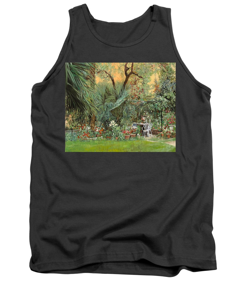 Garden Tank Top featuring the painting Our Little Garden by Guido Borelli