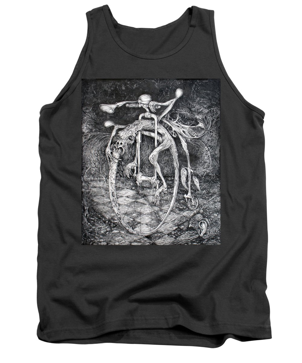 Ouroboros Tank Top featuring the drawing Ouroboros Perpetual Motion Machine by Otto Rapp