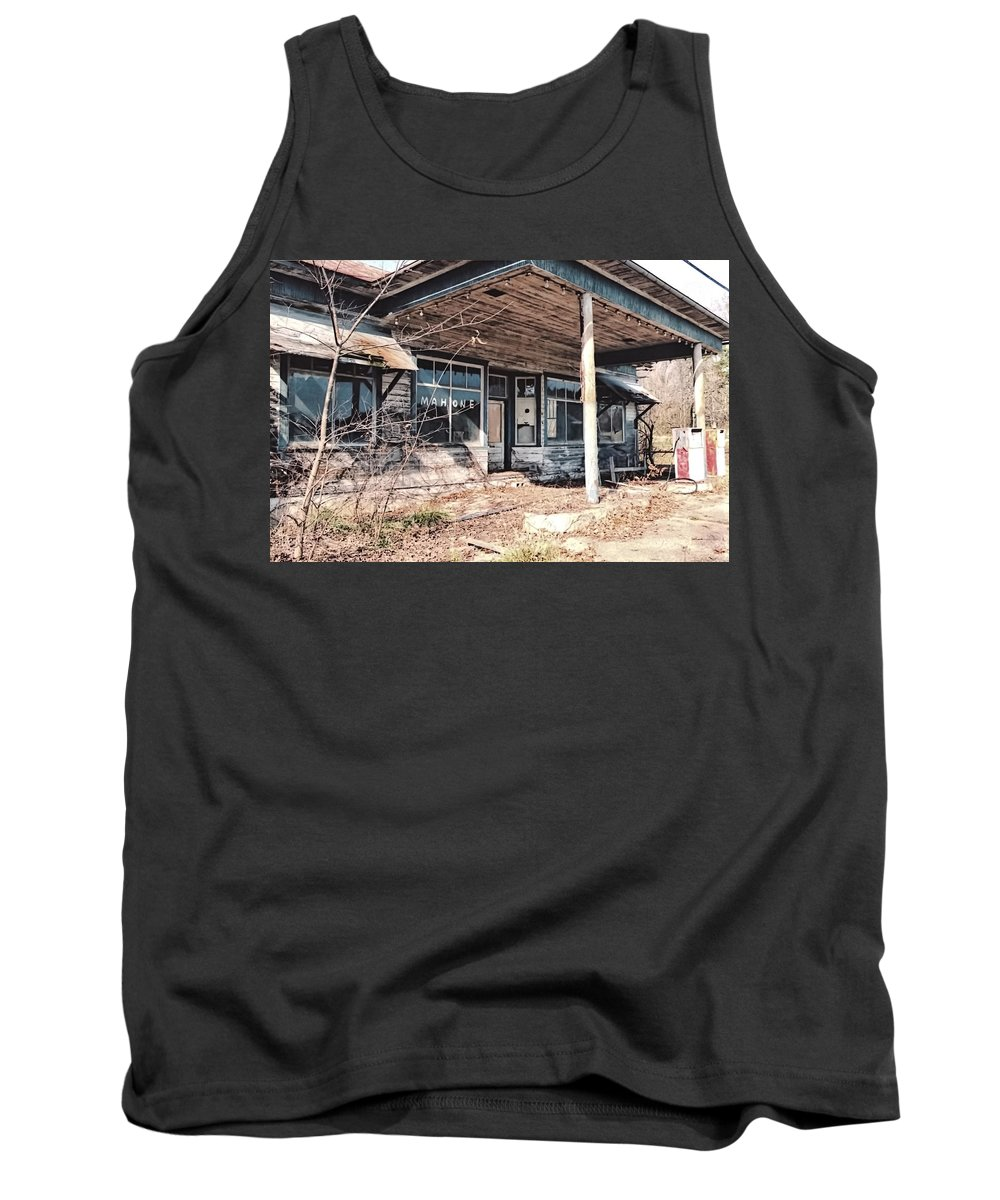Gas Station Tank Top featuring the photograph Out Of Gas by Nelson Strong