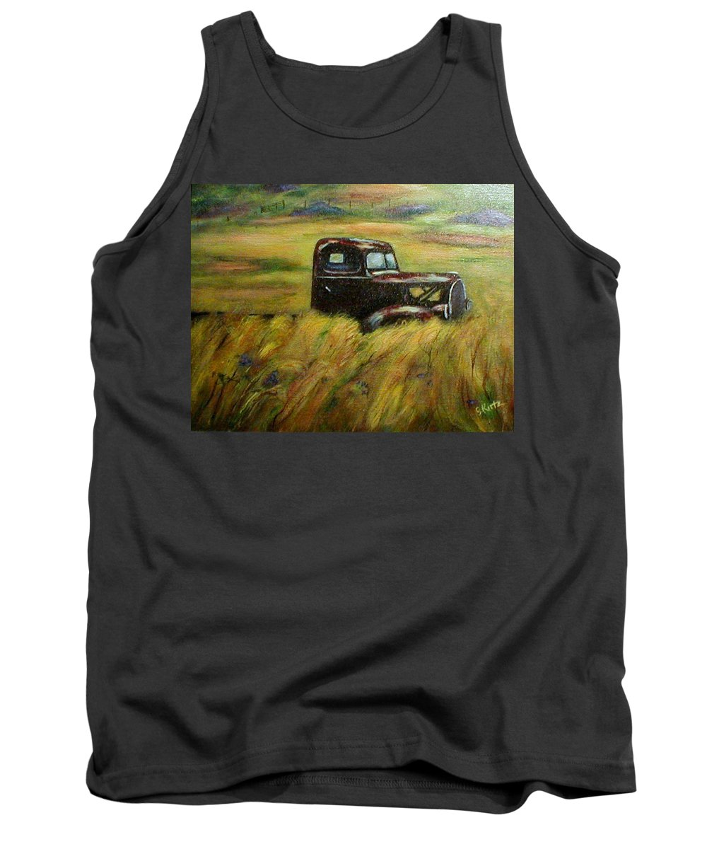 Vintage Truck Tank Top featuring the painting Out To Pasture by Gail Kirtz
