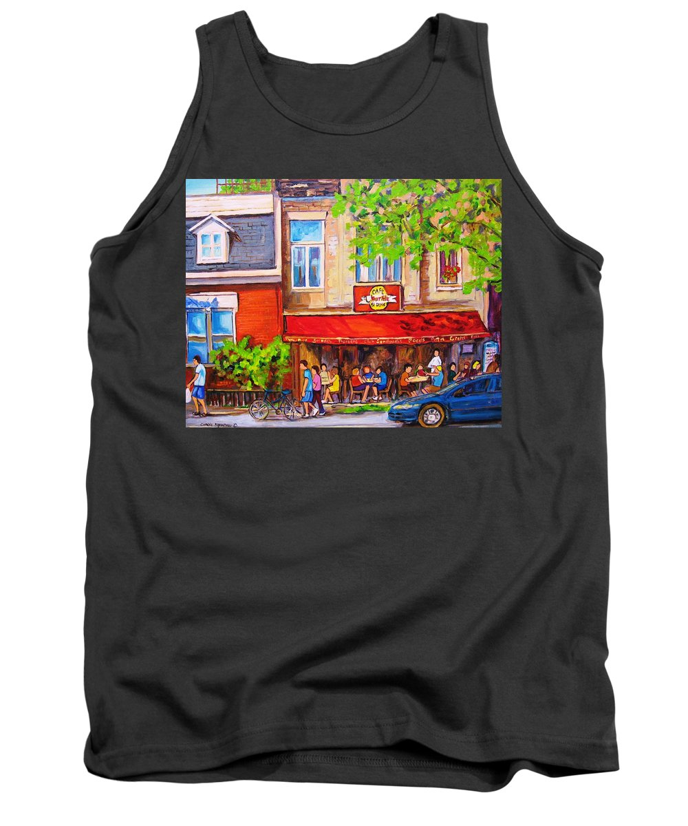 Montreal Tank Top featuring the painting Outdoor Cafe by Carole Spandau