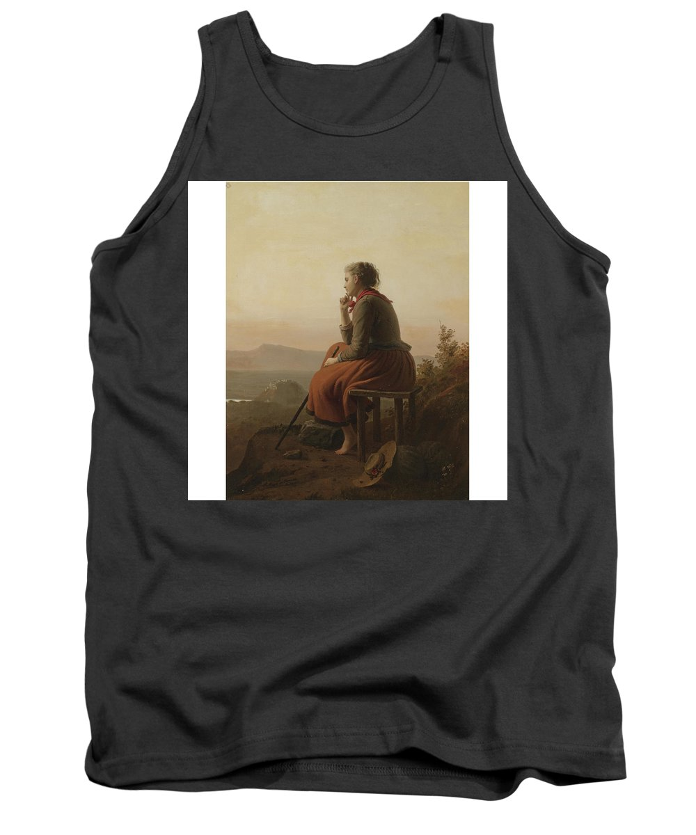 Johann Georg Meyer Von Bremen 1813-1886  (over The Hills And Far Away) Tank Top featuring the painting Over The Hills And Far Away by MotionAge Designs