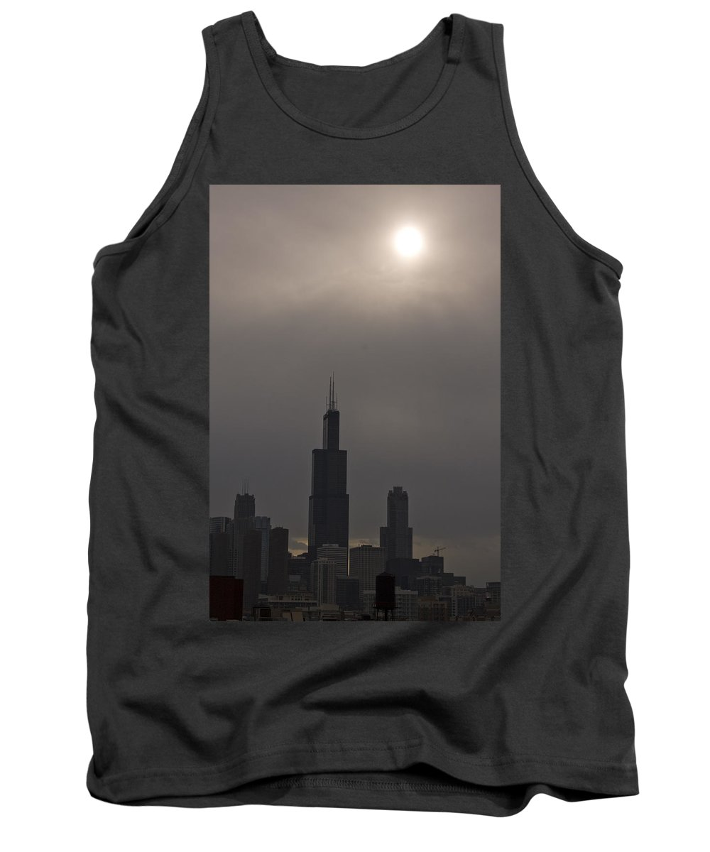 Chicago Windy City Skyline Skyscraper Willis Tower Sears Urban Metro Sun Cloud Cloudy Tank Top featuring the photograph Over The Willis Tower by Andrei Shliakhau