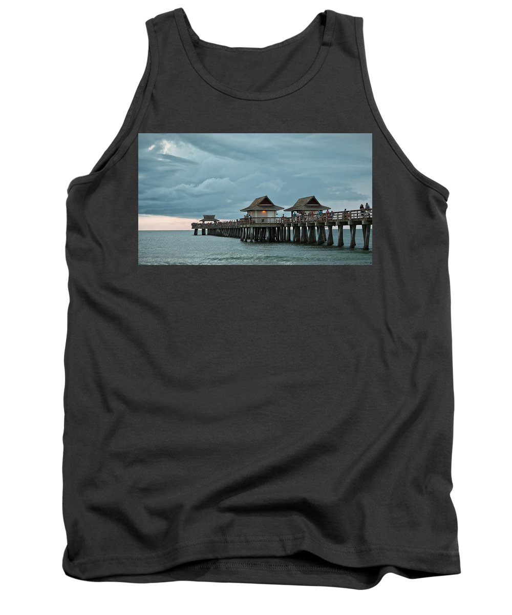 Naples Pier Tank Top featuring the photograph Clouds Over The Naples Pier by Jorge Crespo