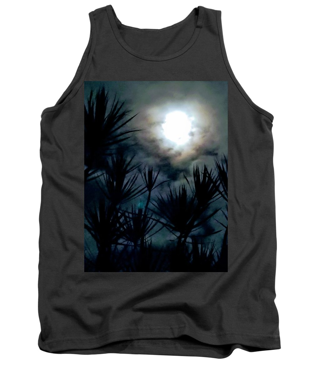 Full Moon Tank Top featuring the mixed media Overhead by Cosmic Child