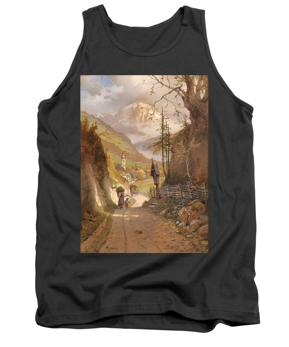 Painting Tank Top featuring the painting Overlooking Ramsau Bei Berchtesgaden by Mountain Dreams