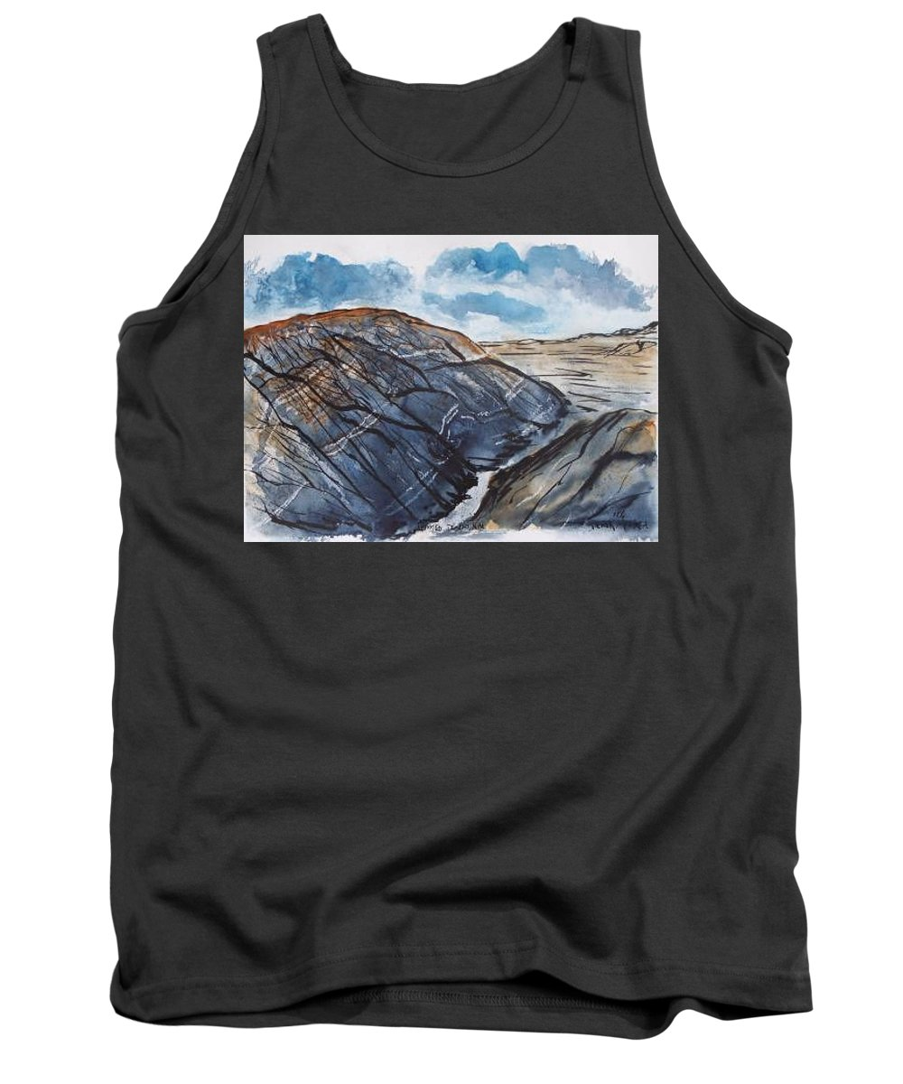 Plein Air Tank Top featuring the painting Painted Desert Landscape Mountain Desert Fine Art by Derek Mccrea