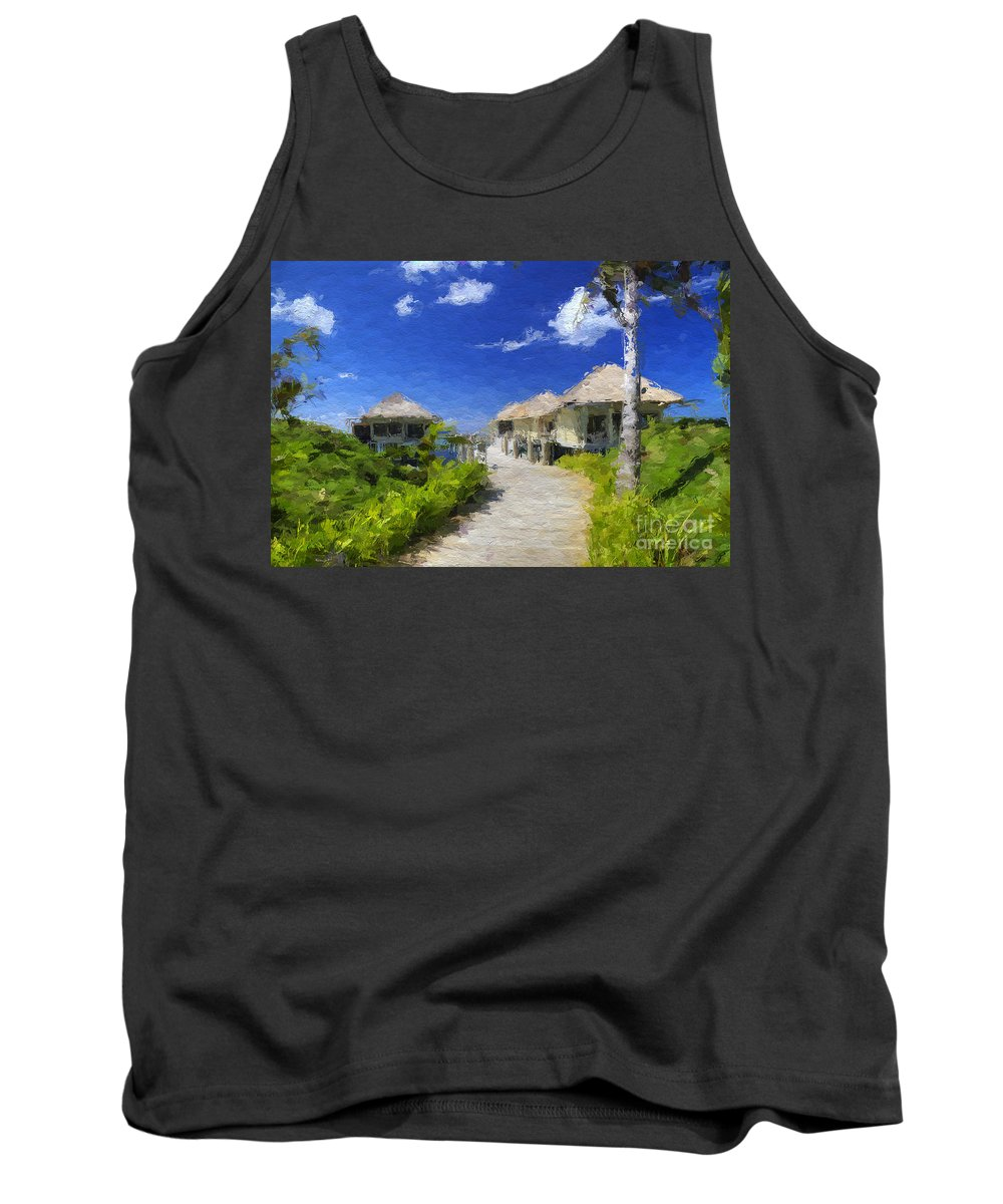 Pacific Islands Tank Top featuring the mixed media Painted Island Pathway by Clive Littin