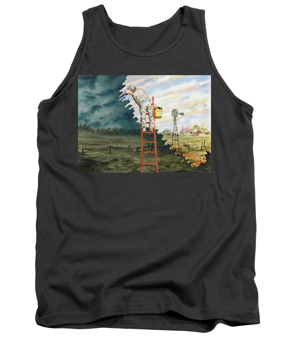 Landscape Tank Top featuring the painting Paintin Up A Storm by Sam Sidders