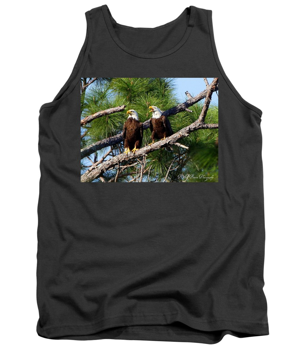 American Bald Eagle Tank Top featuring the photograph Pair Of American Bald Eagle by Barbara Bowen