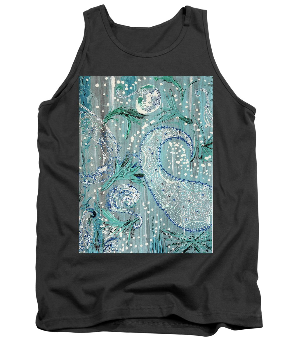 Abstract Tank Top featuring the painting Paisley Trio 1 by Mary Shawn Newins