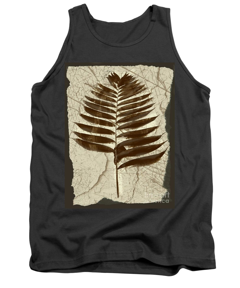 Photograph Tank Top featuring the digital art Palm Fossil Sandstone by Delynn Addams