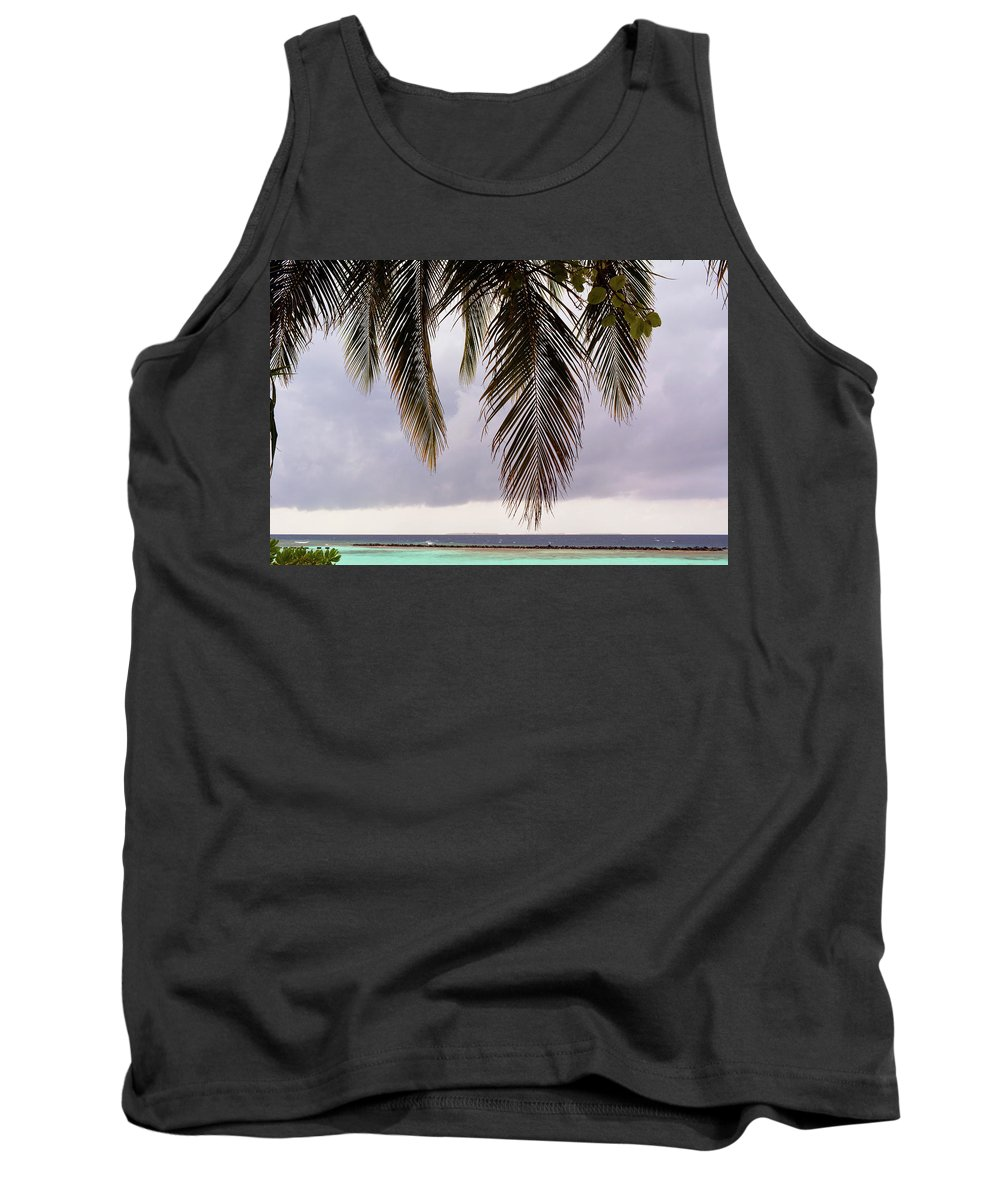 Palm Tank Top featuring the photograph Palm Tree Leaves At The Beach by Oana Unciuleanu