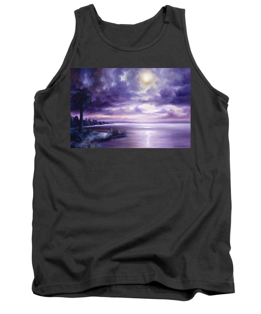 Moon Tank Top featuring the painting Palmetto Moonscape by James Christopher Hill