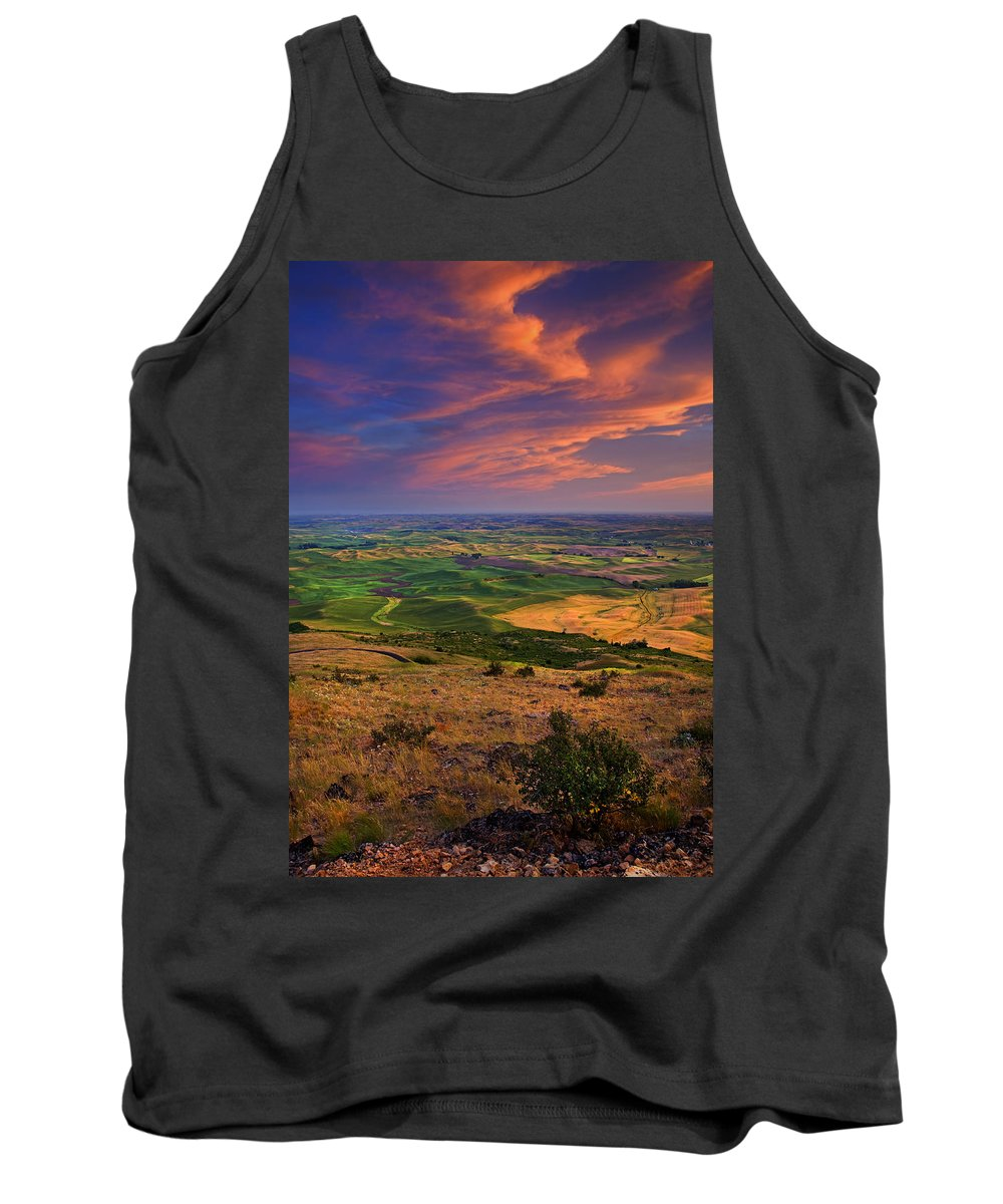 Palouse Tank Top featuring the photograph Palouse Skies Ablaze by Mike Dawson