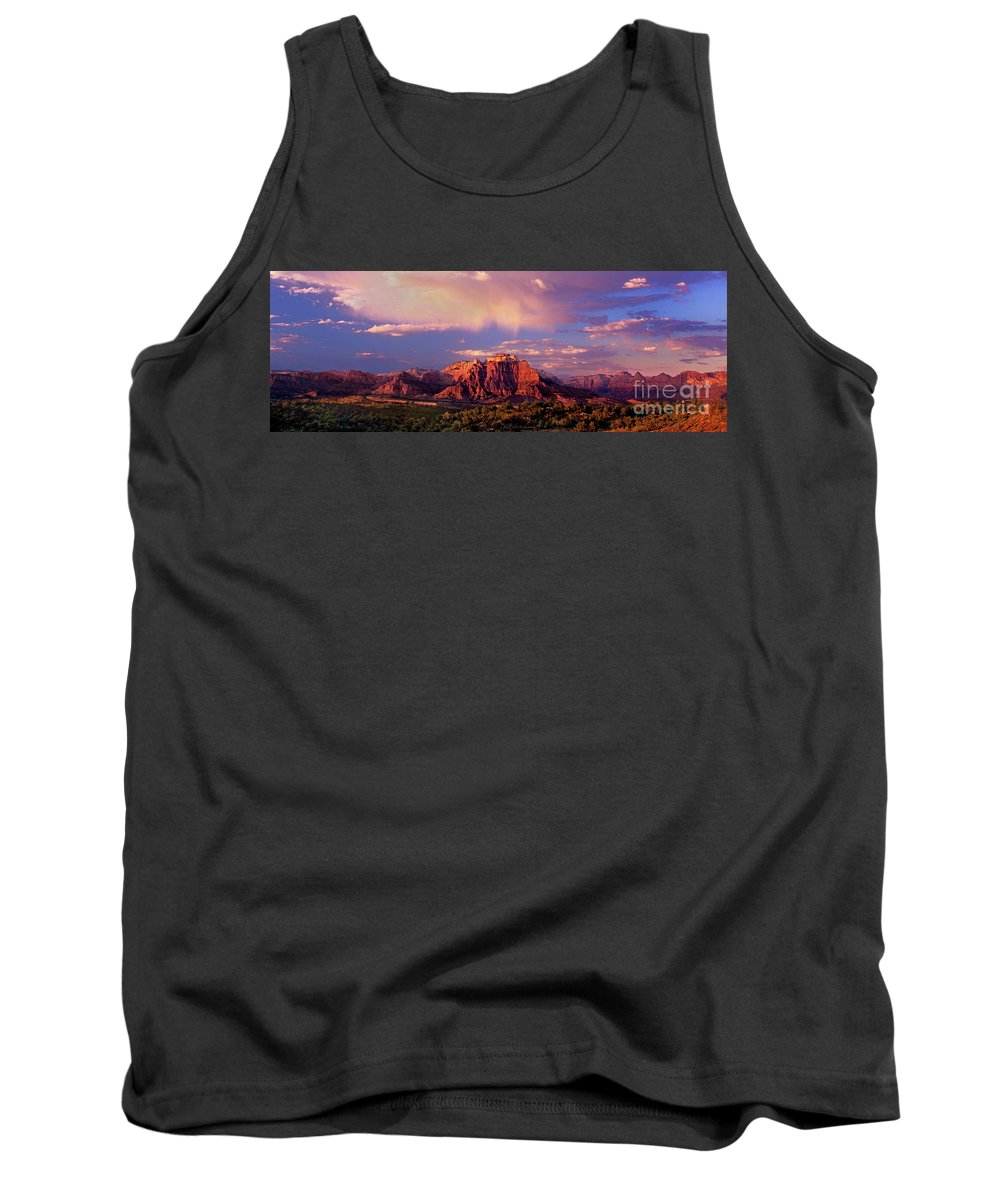 North America Tank Top featuring the photograph Panorama West Temple At Sunset Zion Natonal Park by Dave Welling