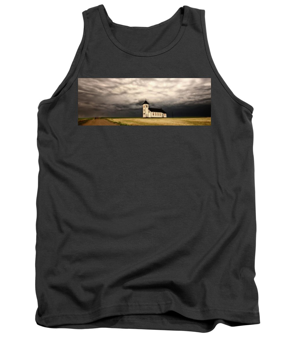 Tank Top featuring the digital art Panoramic Lightning Storm And Prairie Church by Mark Duffy