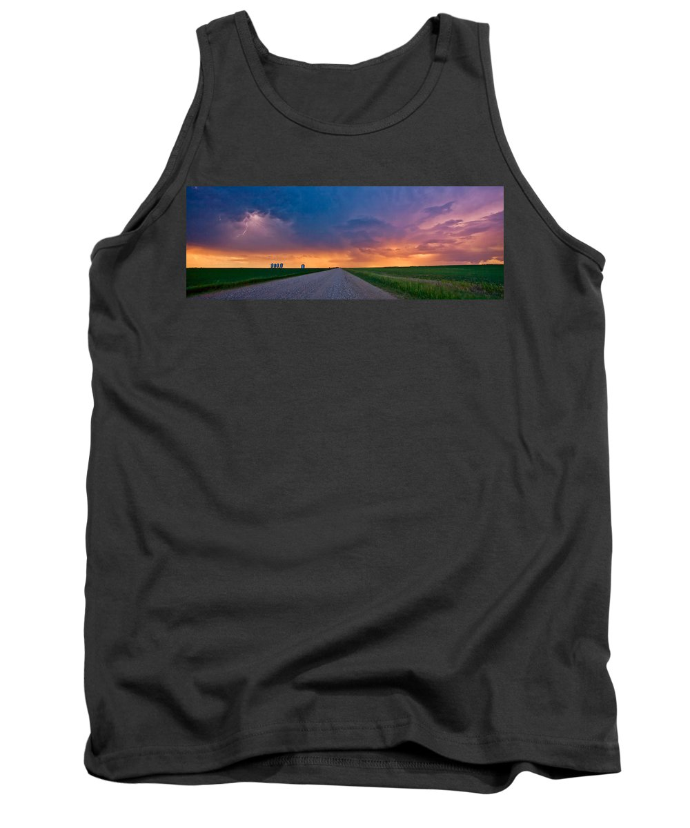 Tank Top featuring the digital art Panoramic Prairie Lightning Storm by Mark Duffy