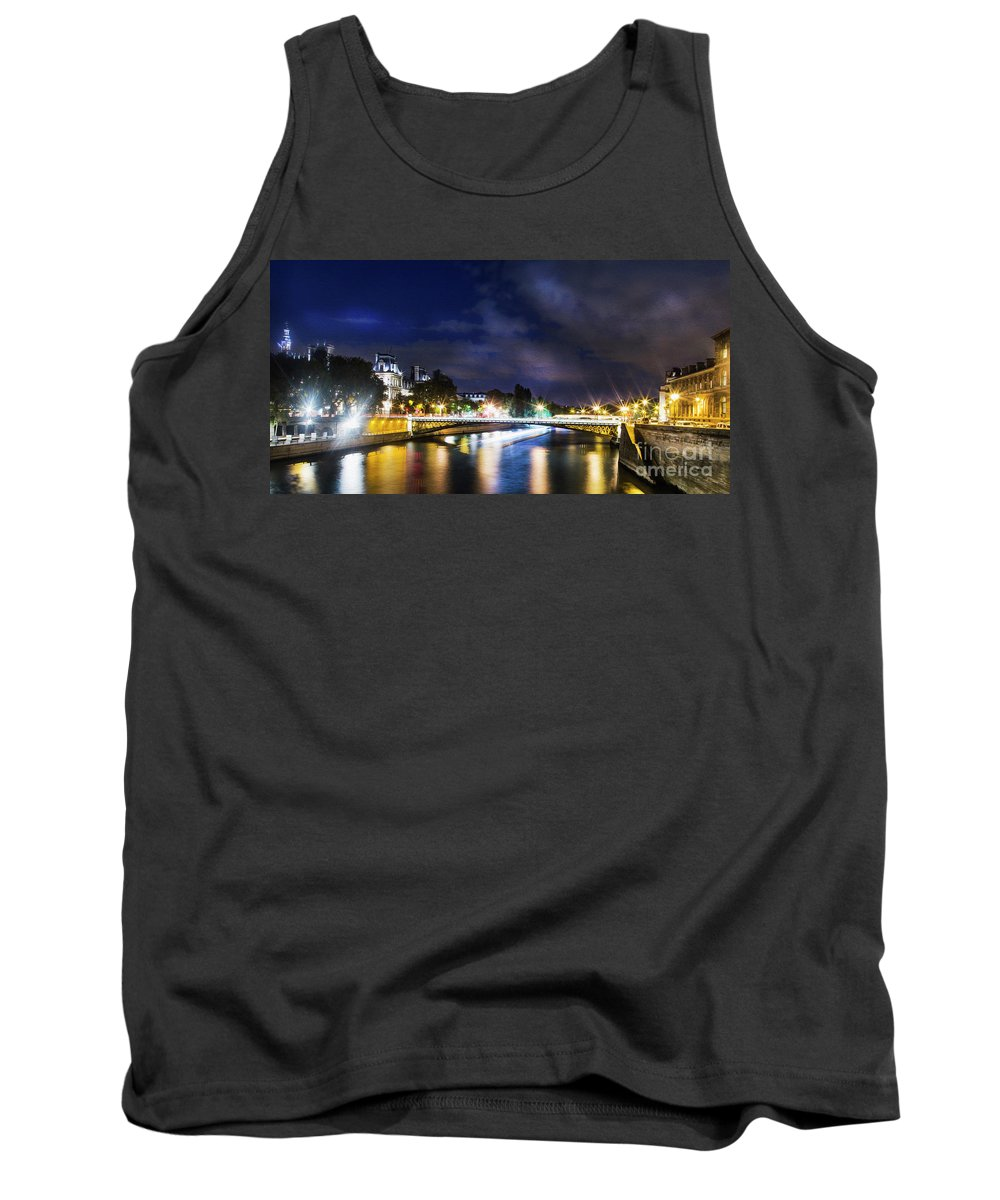 Paris Tank Top featuring the photograph Paris At Night 23 by Alex Art and Photo