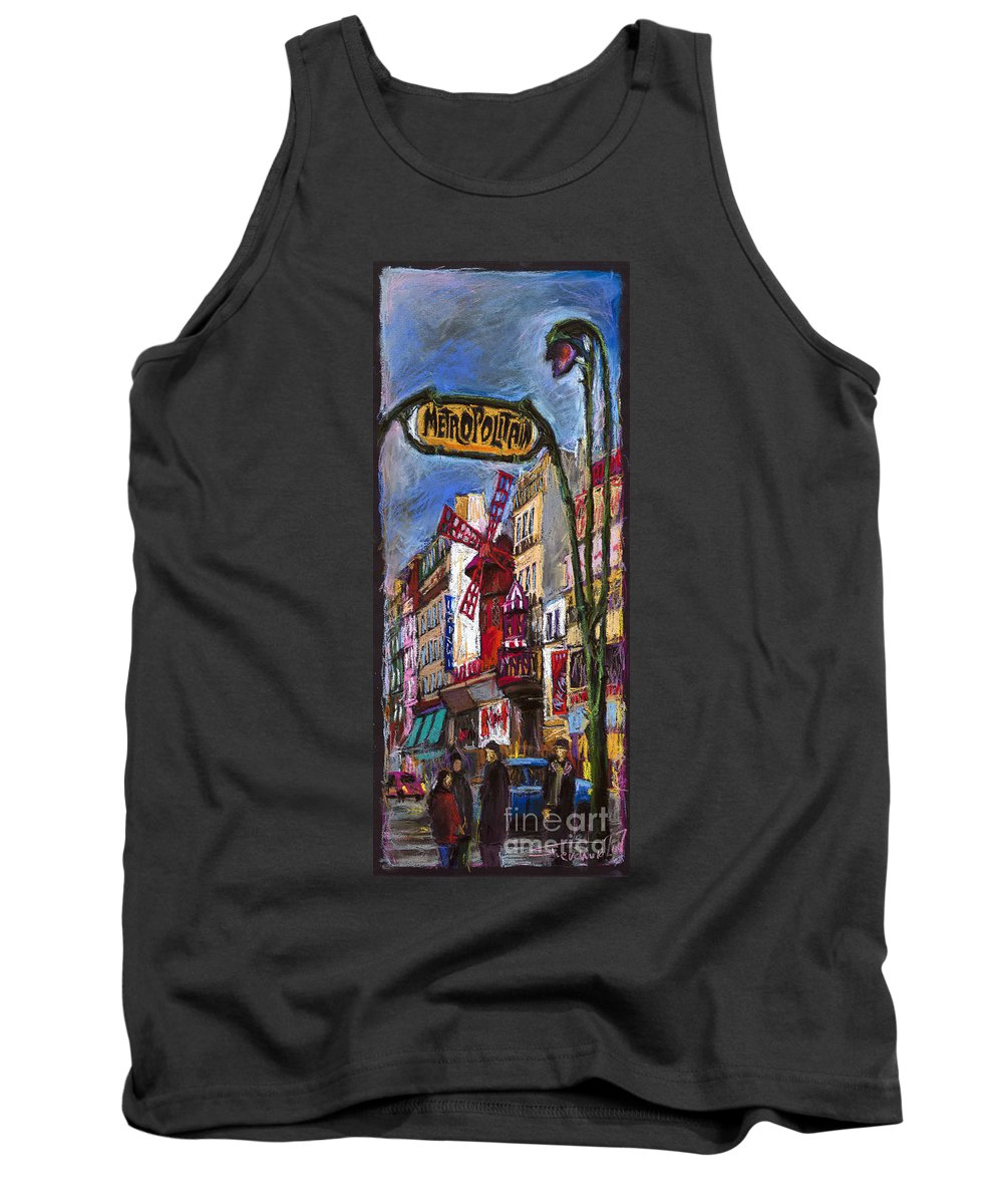 Cityscape Tank Top featuring the painting Paris Mulen Rouge by Yuriy Shevchuk