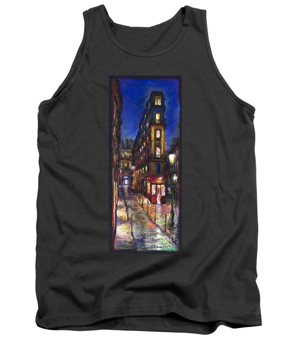 Landscape Tank Top featuring the painting Paris Old Street by Yuriy Shevchuk