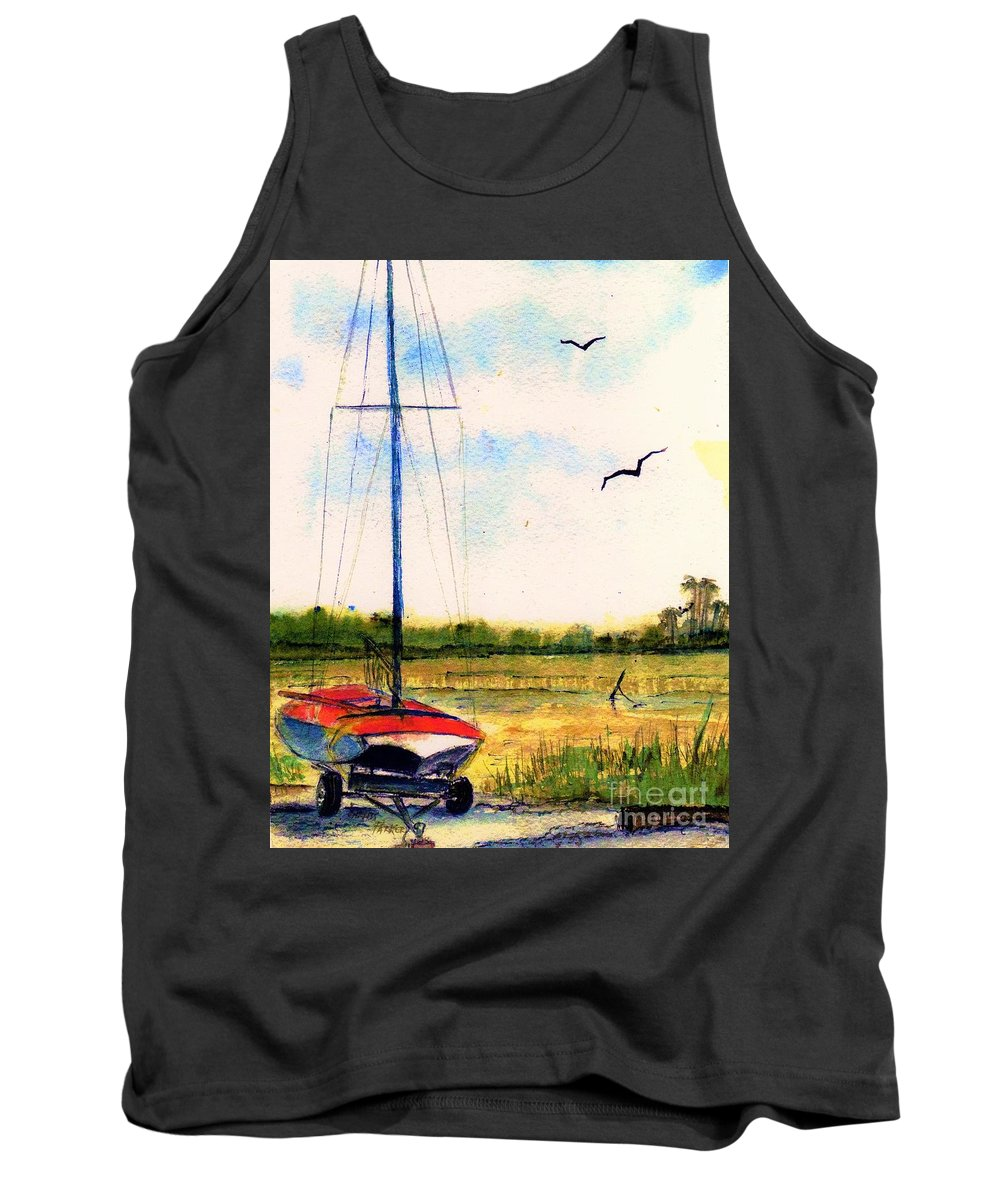 Marsh Tank Top featuring the painting Parked by Carliss Prosser