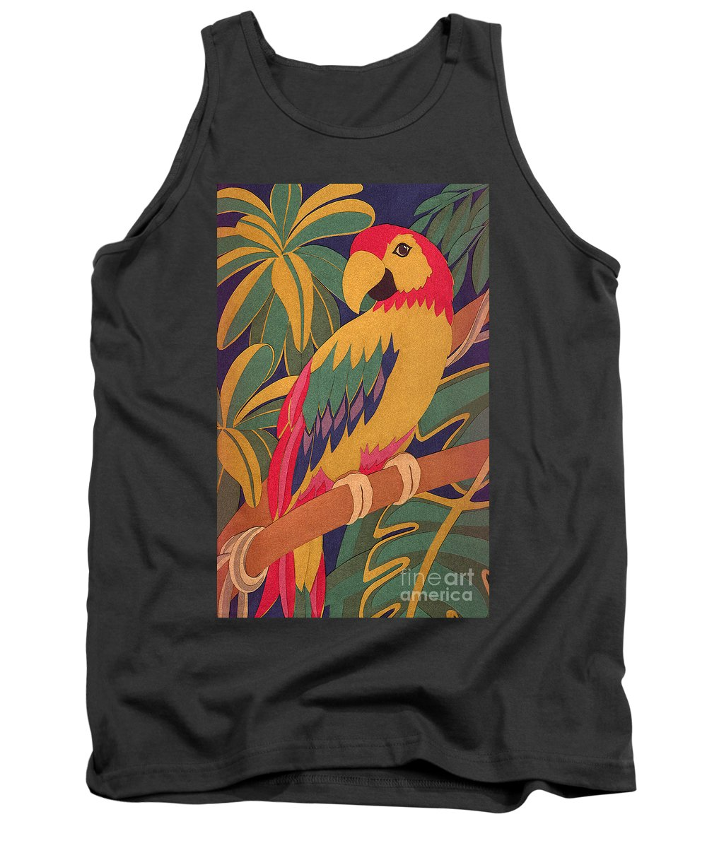 Nature Tank Top featuring the drawing Parrot by Lucyna A M Green