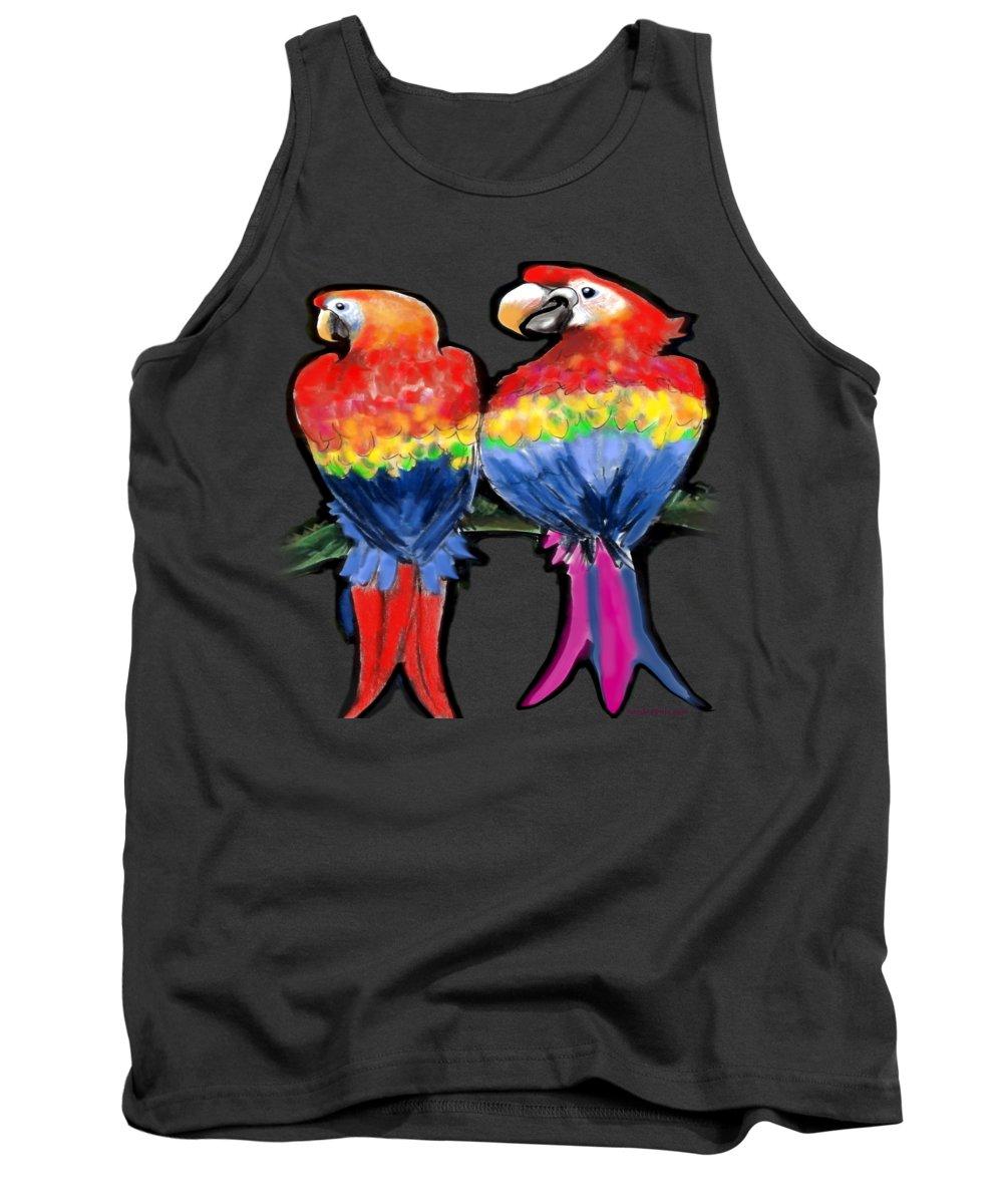 Parrot Tank Top featuring the painting Parrots by Kevin Middleton