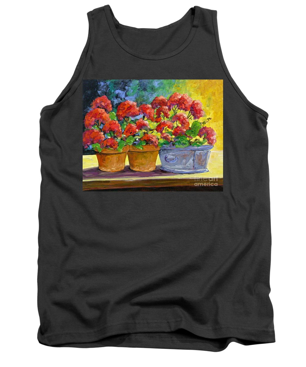 Still Life; Geraniums; Flowers; Terra Cotta; Red; Blue; Yellow; Green; Pranke; Tank Top featuring the painting Passion In Red by Richard T Pranke