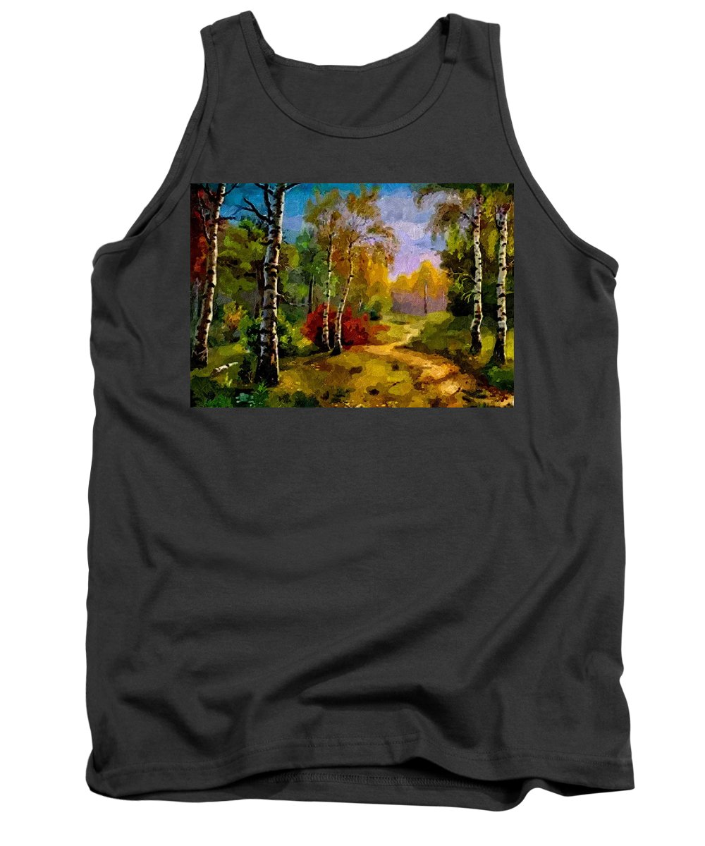 Announcement Tank Top featuring the painting Pathway Through The Forest H B by Gert J Rheeders
