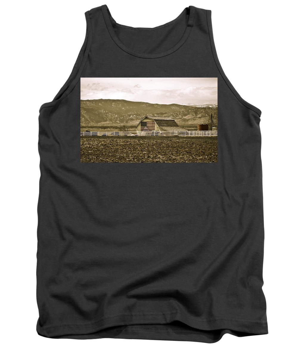 Americana Tank Top featuring the photograph Patriotism And Barn by Marilyn Hunt