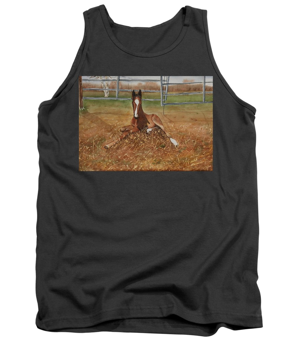 Colt Tank Top featuring the painting Pavlo's First Day by Ruth Kamenev